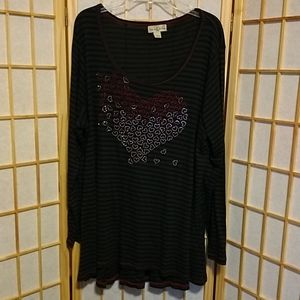 Long Sleeve Striped T-shirt Glitter Hearts Size 2X